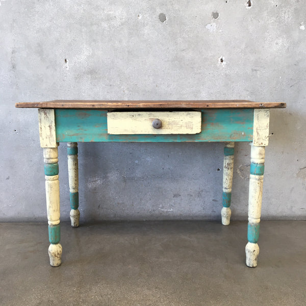 Vintage Rustic Painted Table with Drawer