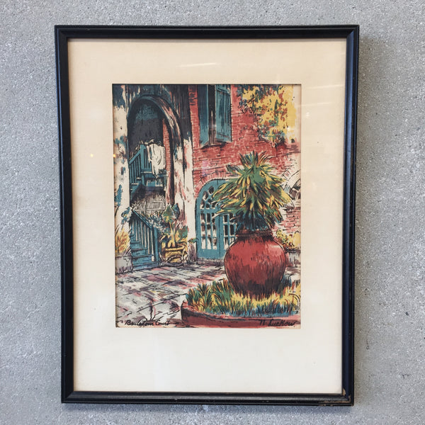 Vintage N. Luckow New Orleans Water Color