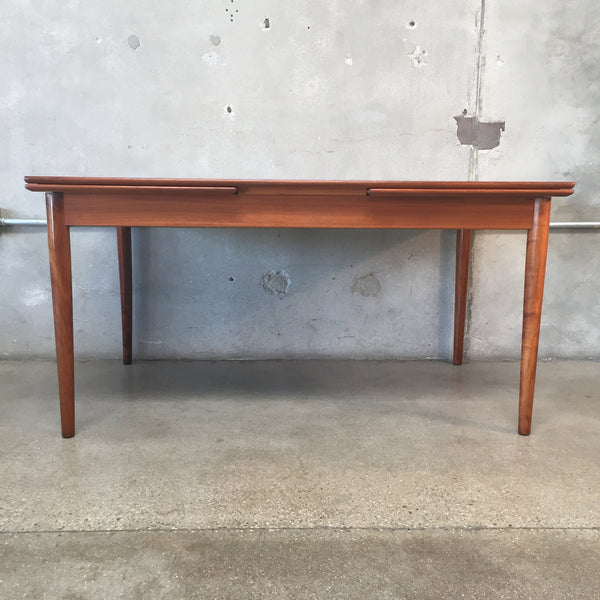 Danish Modern Teak Dining Table with Two Draw Leaves
