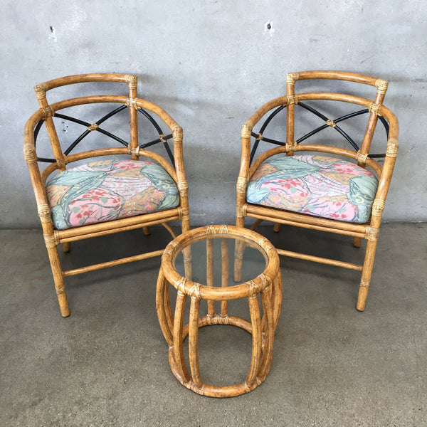 McGuire San Francisco Bamboo Chairs & Side Table
