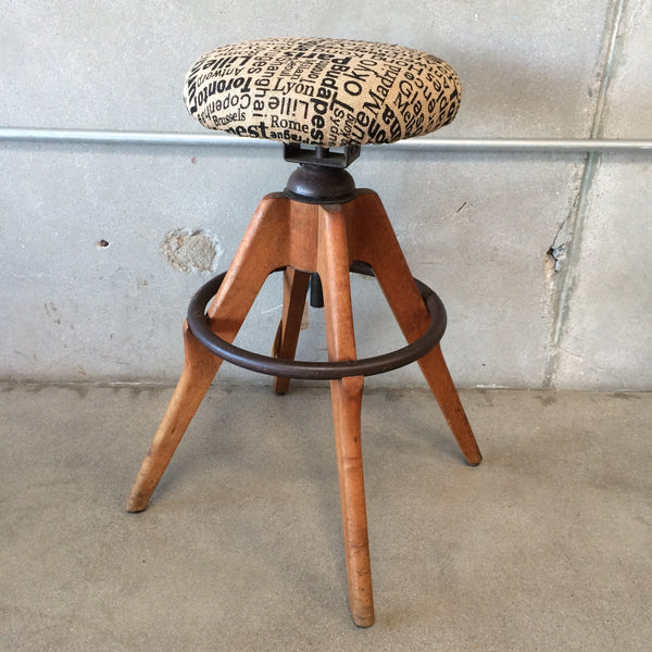 Awesome Industrial Barstool with New Fabric