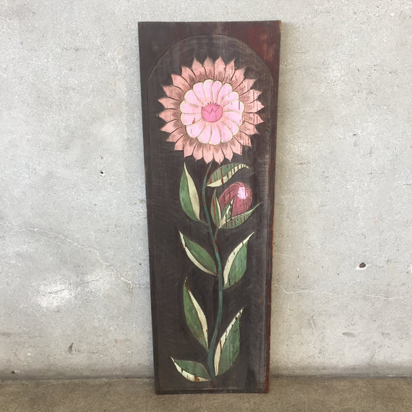 Vintage Painted Panel Carve Circa 1960