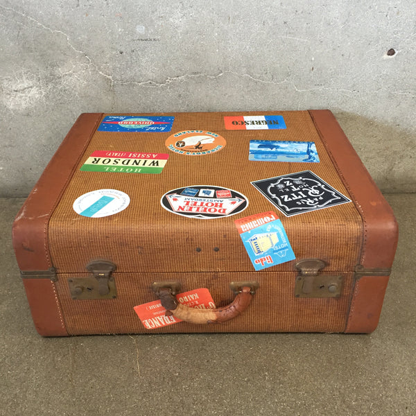 Vintage Biscon Suitcase with Hotel Labels