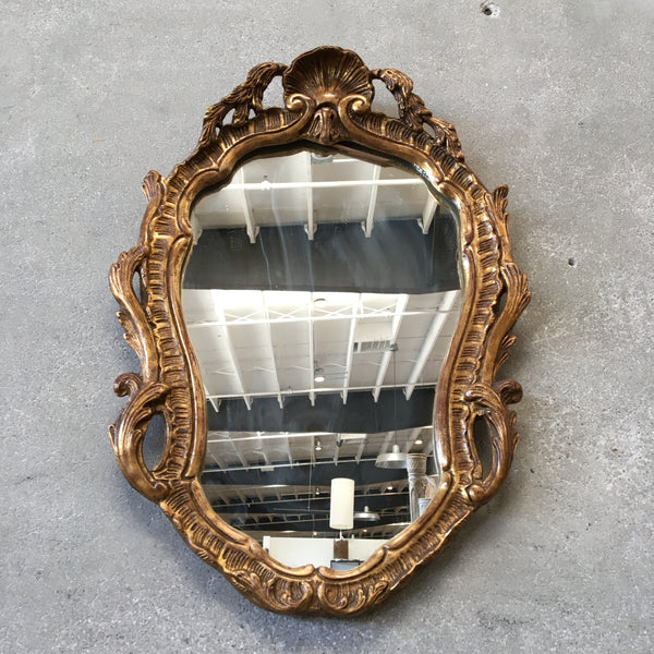 Vintage Gilded Cartouche Wall Mirror