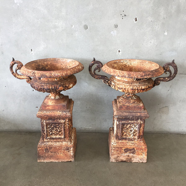 Antique Cast Iron French Urns- Pair