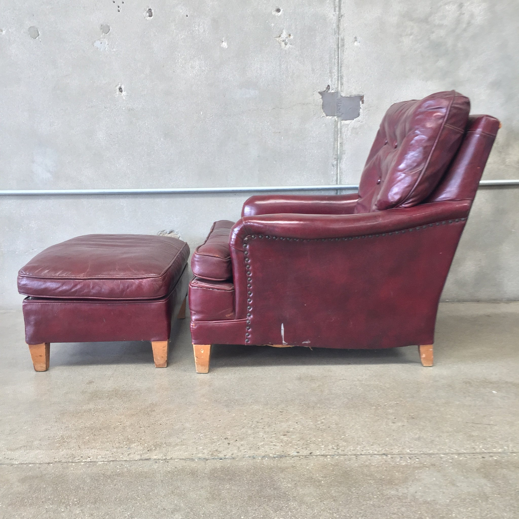 Oxblood Red Leather Club Chair and Ottoman – UrbanAmericana