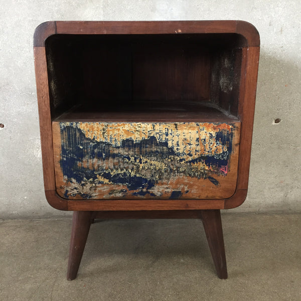 Reclaimed Wood Nightstand in Mid Century Style
