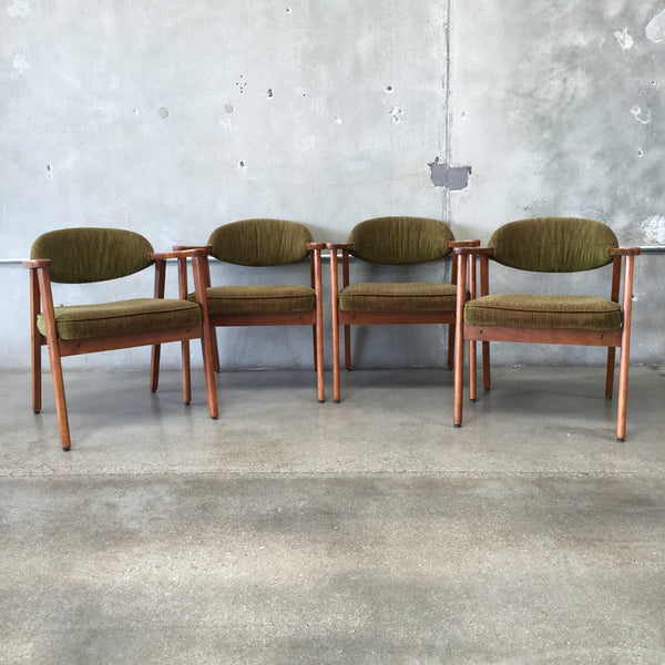 Set of 4 Mid Century Arm Chairs w/ Olive Green Upholstery