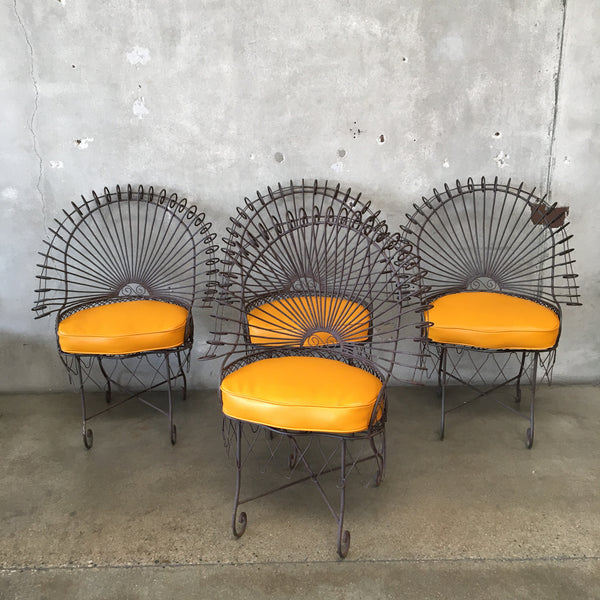 American Peacock Wrought Iron Chairs - set of 4