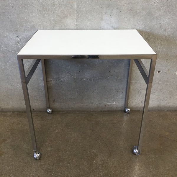 White Formica & Chrome Side Table in the style of Milo Baughman