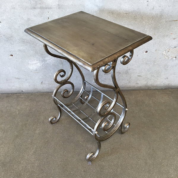 Vintage Uttermost Brand Wood and Metal Side Table