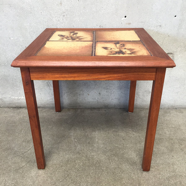 Mid Century Inlaid Tile Teak End Table