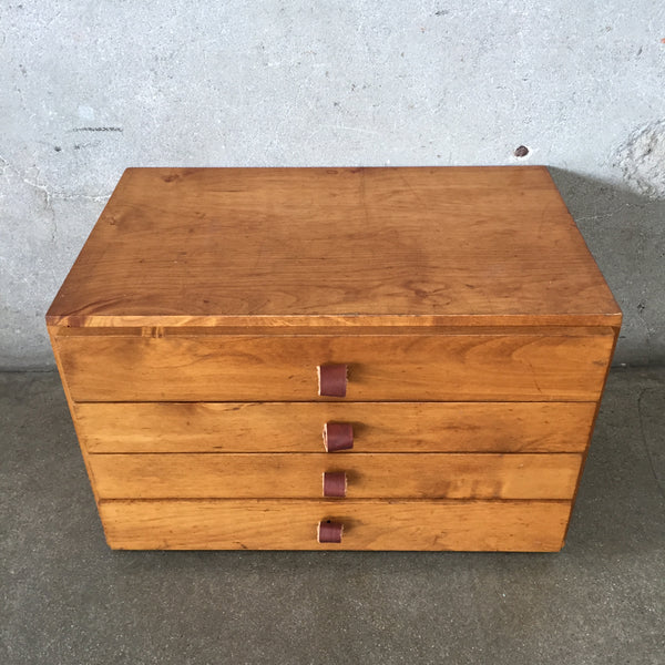 Vintage Four Drawer Mini Dresser with Leather Drawer Handles