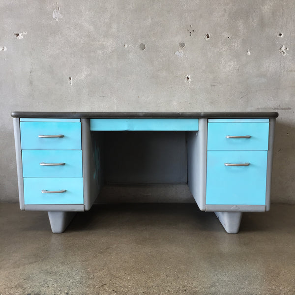 Vintage Industrial Metal Tanker Desk
