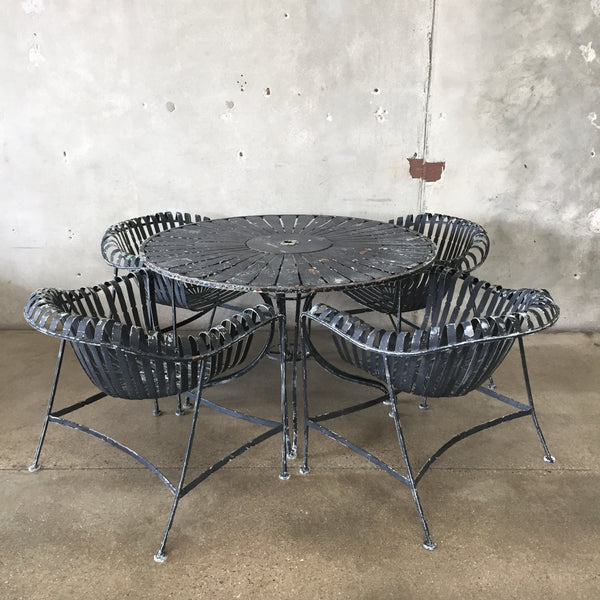 Vintage Mid Century Modern Wrought Iron Garden Patio Dining Set