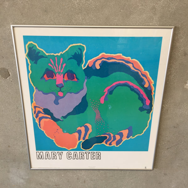 1980's March Green Cat Poster by Mary Carter