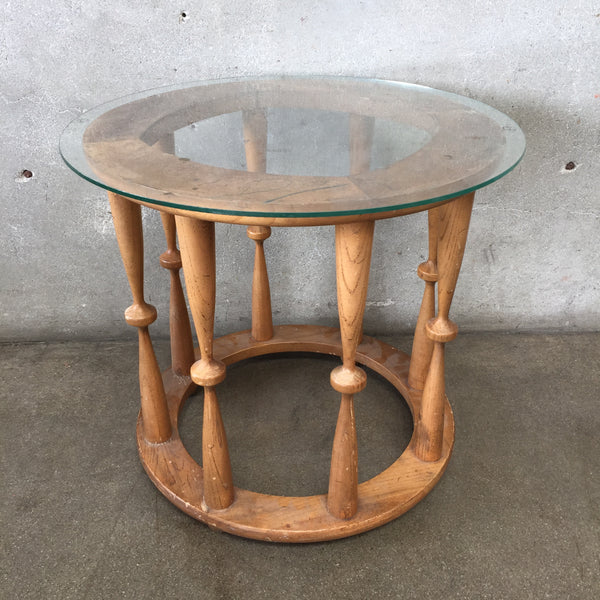 Wood & Glass Spindle Table