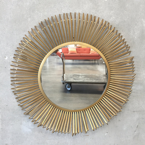 Modern Gold Sunburst Mirror