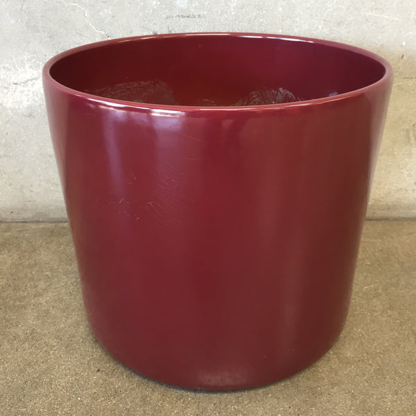 Large Mid Century Burgundy Pot