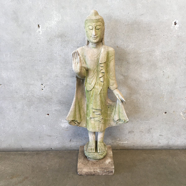 Vintage Quan Yin Standing Cement Statue