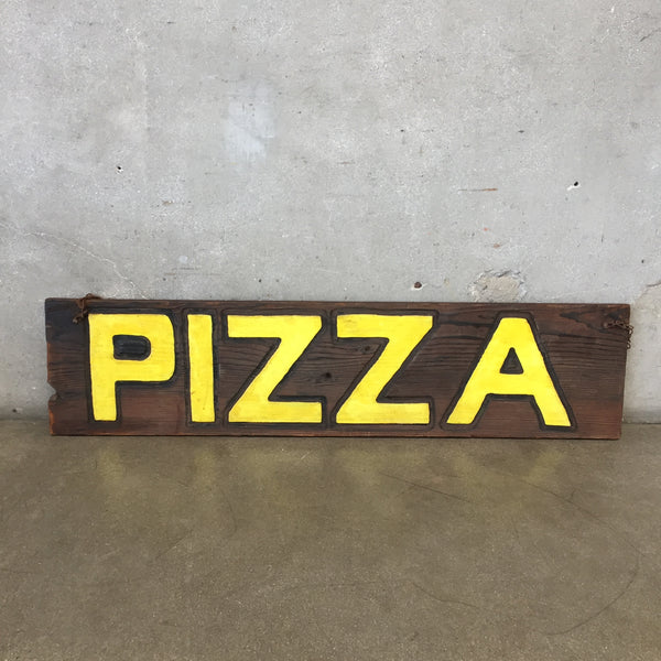 Vintage Wood Pizza Trade Sign