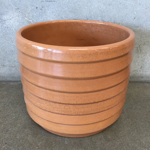 Mid Century Tan Ribbed Planter