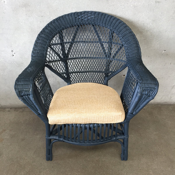 Vintage Blue Gray Wicker Chair