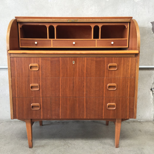 Mid Century Roll Top Desk  / Mixed Wood