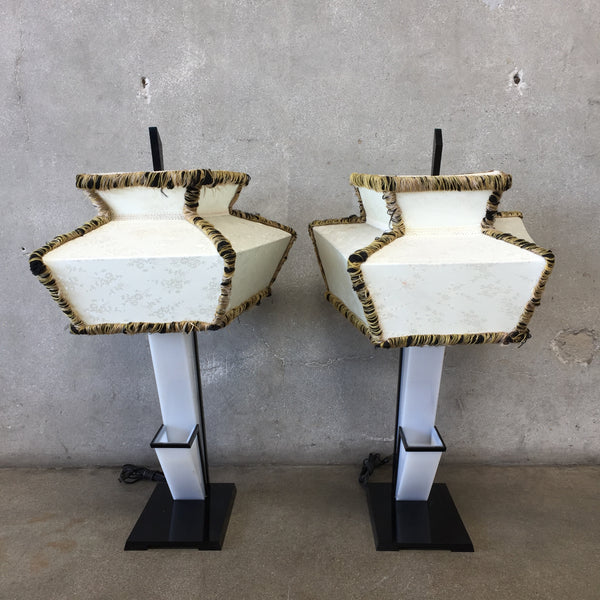 "Pair of Lucite ""Moss Lamps"" with Shades"