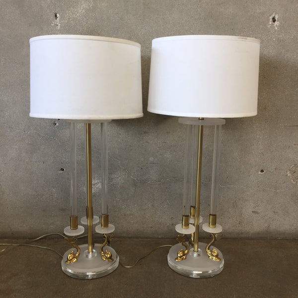 Pair of Brass & Lucite Table Lamps
