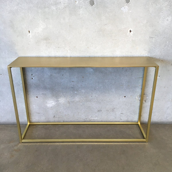 Hollywood Regency Metal Golden Console Table
