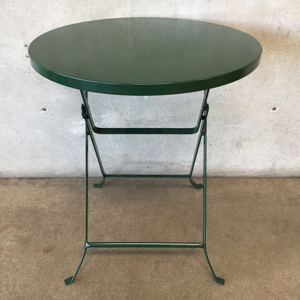 Green Metal Folding French Cafe Table