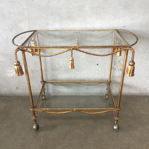 Italian Tole Gold Rolling Tea / Bar Cart
