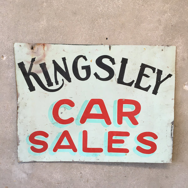 Vintage Kingsley Car Sales Sign
