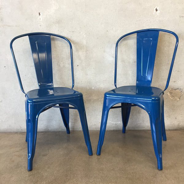 Pair of Blue Metal Cafe Chairs