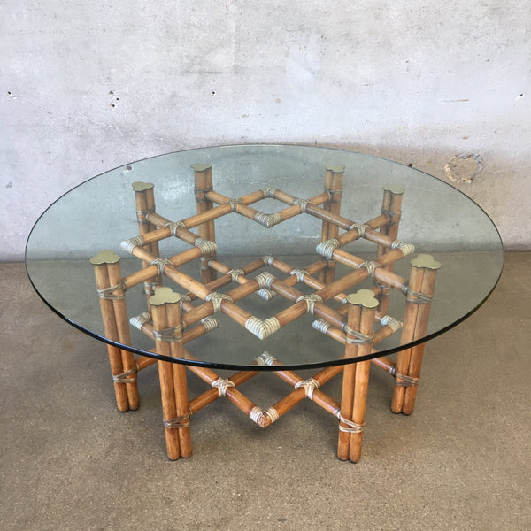 Vintage 1970's McGuire Architectural Bamboo & Glass Coffee Table