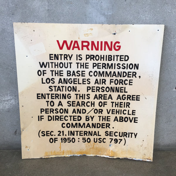 Vintage Sign Air Force Station Warning Sign