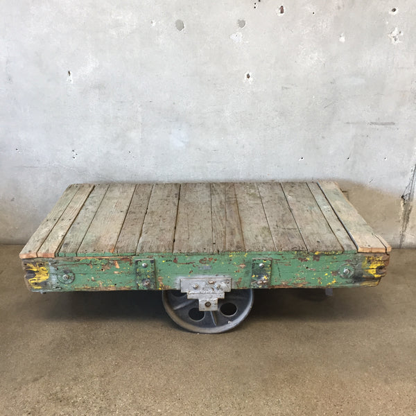 Industrial Green Factory Cart Coffee Table