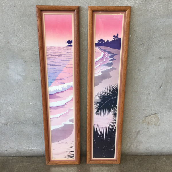 Set of Framed Vintage Beach Prints
