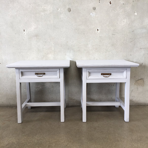Pair of Solid Wood Gray Chalk Painted End Tables
