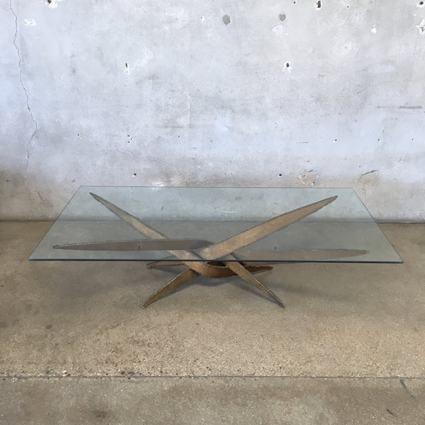 1970's Brutalist Torch Cut Iron Coffee Table