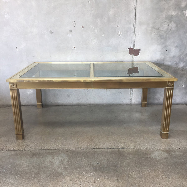 Brass & Glass Dining Table by Mastercraft