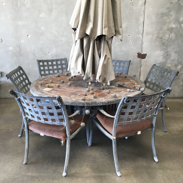 Iron & Stone Patio Set with Umbrella