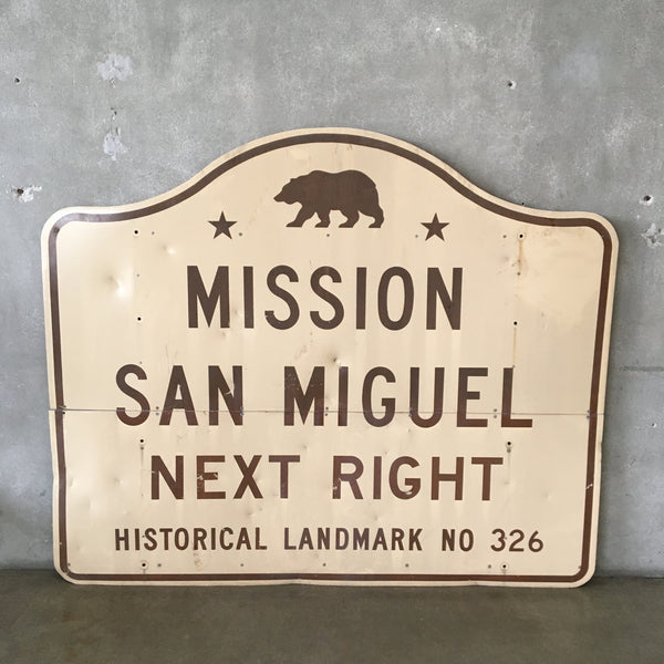 Vintage San Miguel Mission California Highway Sign