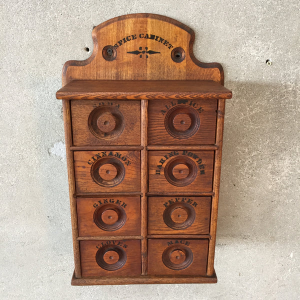 Eight Drawer Oak Spice Cabinet