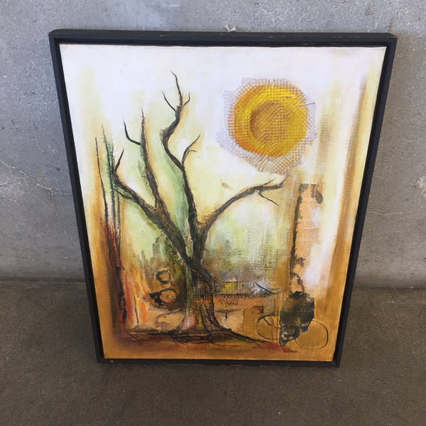 "Vintage Oil on Canvas by W. Hien ""Tree & Sun"""