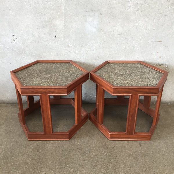 Pair of Mid Century Brown Saltman Walnut Octagon End Tables