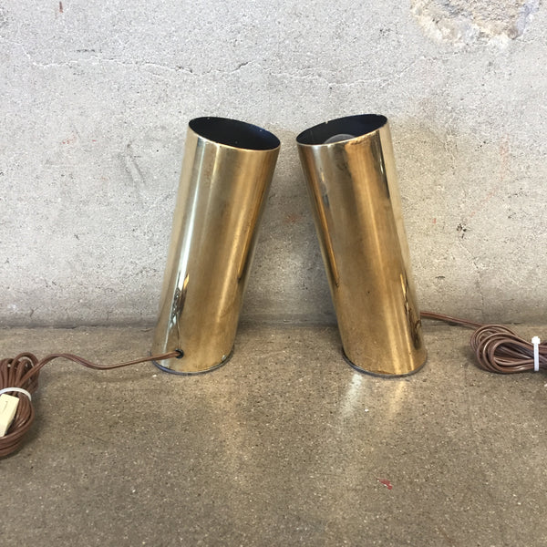 Pair or Modern Brass Angled Tube Lights