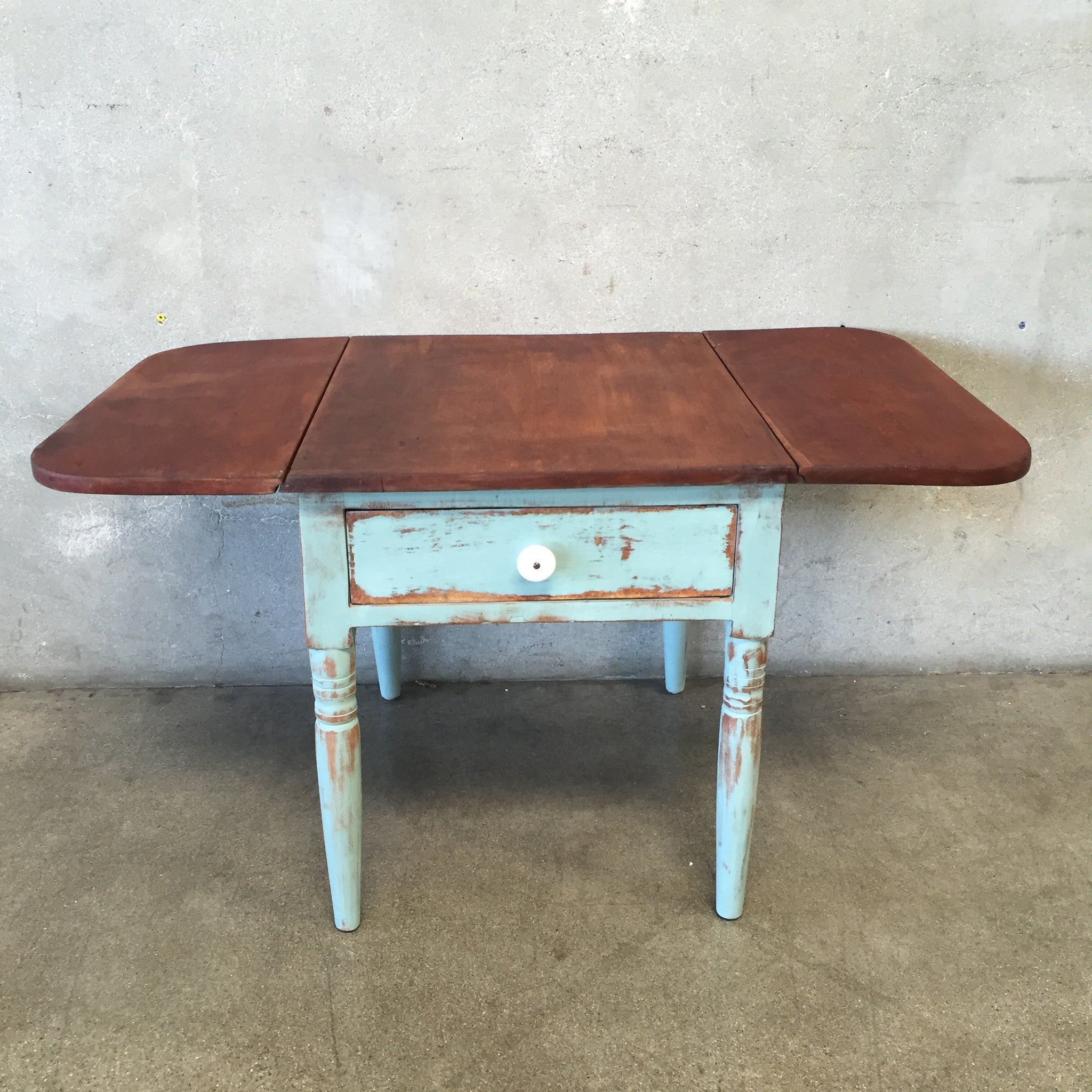 ... Hand Painted Distressed Drop Leaf End Table ...