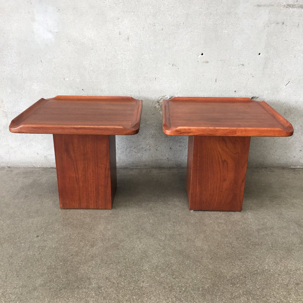 Pair of Mid Century Brown Saltman End Tables